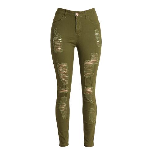 Moda Mujeres Vaqueros ajustados de cintura alta elástico del lápiz del agujero rasgado de los pantalones Negro / Borgoña / Verde del ejército
