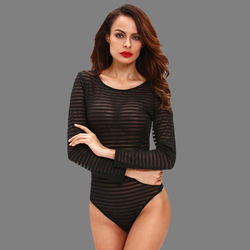 New Mulheres Sexy Bodysuit Semi-pura Stripe em torno do pescoço de manga comprida calças justas Bodycon Jumpsuit macacãozinho Branco / Preto