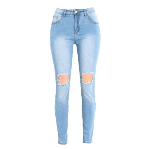 Mulheres jeans lavados Denim destruído desgastada Buraco Zipper Pockets magro das calças lápis calças justas azuis