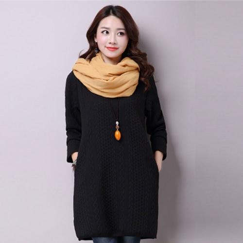Vestido de las mujeres Mori Jacquard de Split Hem Bolsillos O Cuello de manga larga jersey suelto recto del puente del vestido