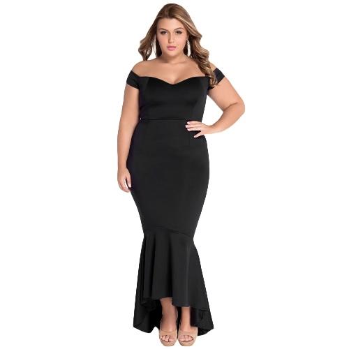 Seksowne Kobiety Off The Shoulder Dip Powrót Peplum Dress Backless Bardot Maxi formalnego wieczorem Sukienka Czarny / Burgundy / Ciemny Niebieski