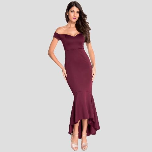 Las mujeres atractivas Off The Dip parte posterior del hombro vestido sin espalda Peplum Bardot Maxi vestido de noche formal Negro / Borgoña / azul marino