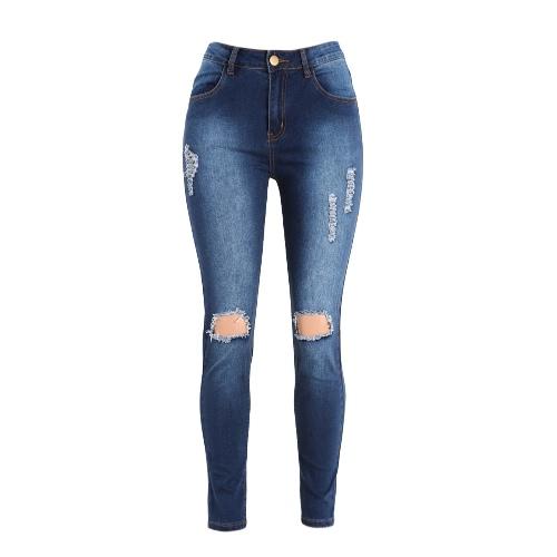 Seksowne Kobiety Denim Jeans Ripped Hole skinny pants wysoką talią Washed Stretch Ołówek Spodnie Legginsy Niebieski