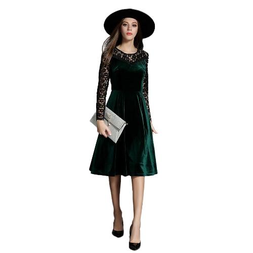 Mulheres vestido de veludo laço floral oco Out O pescoço Ruffles mangas compridas A-Line Voltar Zipper Vestido verde escuro