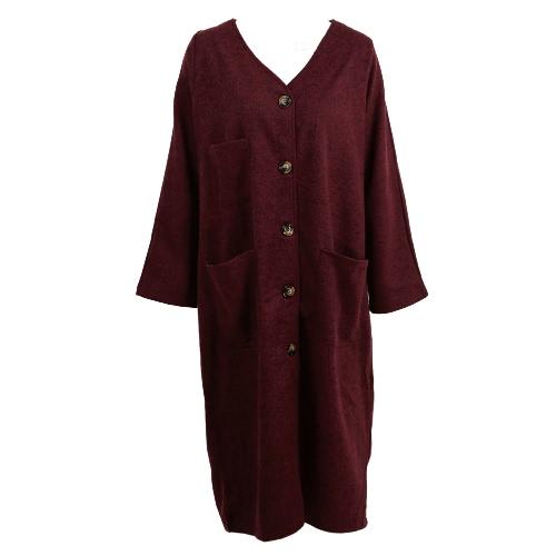 Długi Nowej kobiet Faux Wełniany Płaszcz Vintage V-Neck Długie rękawy Kieszenie Przycisk Zamknięcie Loose Maxi Znosić