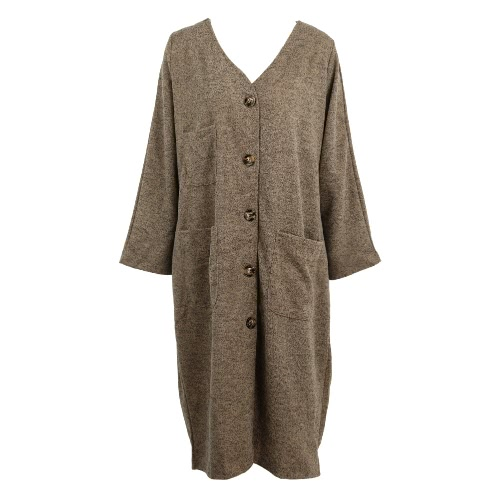 La nueva capa de lana larga de las mujeres de imitación de la vendimia con cuello en V mangas largas con bolsillos y botones de cierre flojo Maxi Outwear