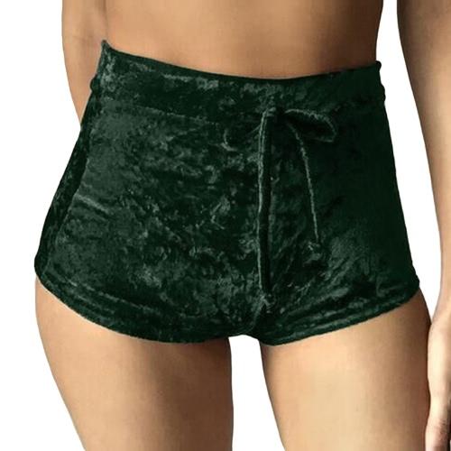 Las nuevas mujeres del terciopelo pantalones cortos de cintura alta Otoño Invierno Sexy Pantalones flacos ocasionales elegantes