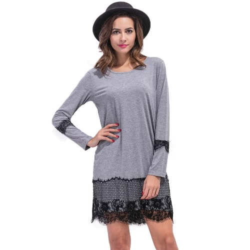 Mujer de encaje Vestido suelto de la pestaña del cordón del o cuello de manga larga recta Mini vestido Shift Negro / gris / blanco