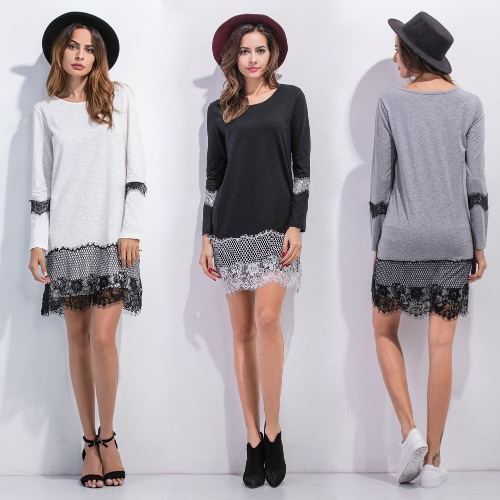 Women Lace Shift Dress Eyelash Lace O Neck Long Sleeves Straight Mini Shift Dress Black/Grey/White, TOMTOP  - buy with discount