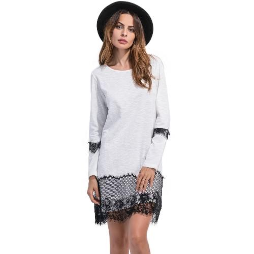 Mulheres Lace Vestido Solto cílios Lace O Neck mangas compridas Hetero Mini Vestido Solto preto / cinza / branco