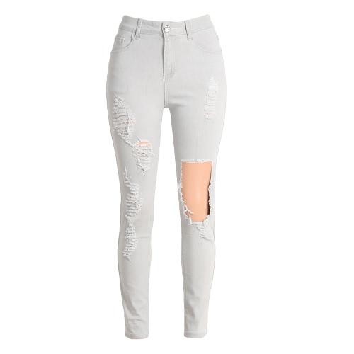 New Sexy Mulheres Denim Jeans rasgado Buraco Calças de cintura alta magro BODYCON Calças Lápis Calças Light Grey