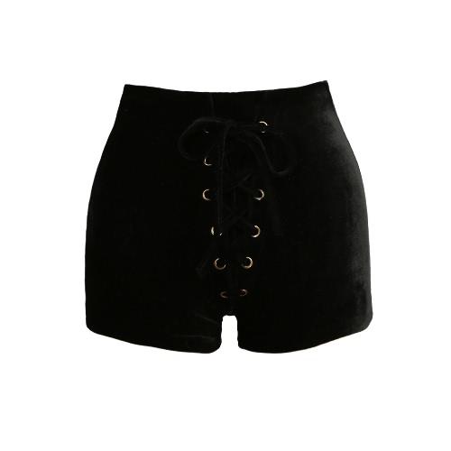 Nuevo atractivo de las mujeres de la alta cintura del cordón de terciopelo pantalones cortos de Bodycon del club del punk calientes casual Pantalones cortos Negro / Borgoña / Naranja