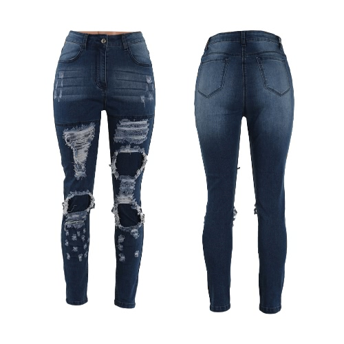 Kobiety jeans rozciągliwy Denim Ripped Knee Zipper Mid Waist Hole Distressed Super Skinny Pants Ołówek
