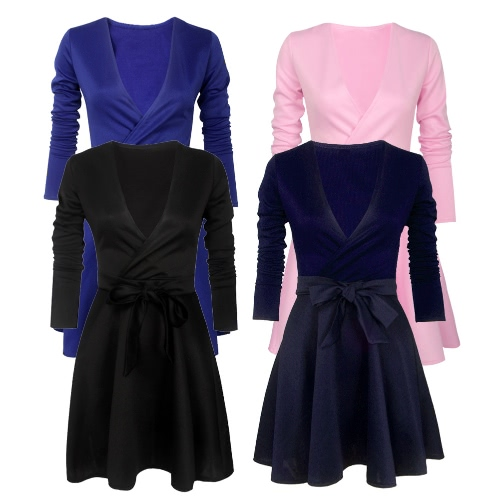 Women Dress Solid Color Deep V Neck Long Sleeve Skater Skirt Sexy Ladies Mini Evening Party One-Piece, TOMTOP  - buy with discount