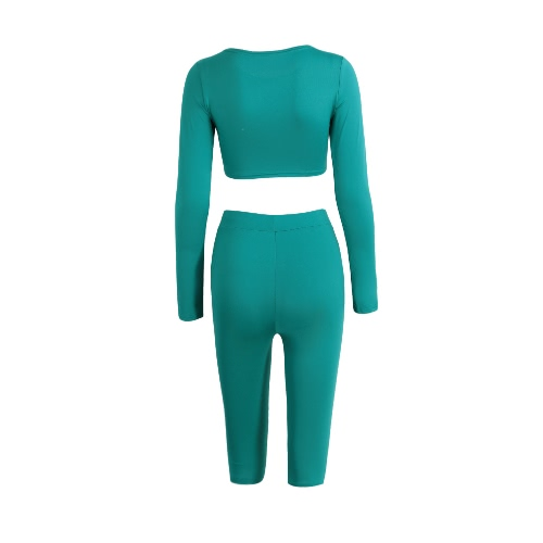Women Two-Piece Set Crop Top Capri Pants Round Neck Long Sleeves High Waist Stretchy Sportswear Fitness Suit
