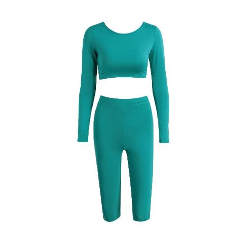 Mulheres Two-Piece Set Top Curto Capri Pants Suit em torno do pescoço mangas compridas cintura alta elástico Sportswear ginástica