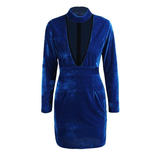Sexy Kobiety Velvet Dress Halter BODYCON Głębokie V-Neck Side Podział Klub Party Mini Pencil Dress