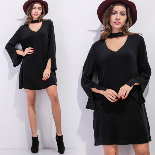 Women Mini Dress V Neck Choker Batwing Sleeves Slit Cuff Loose A-line Dress Black/Grey, TOMTOP  - buy with discount