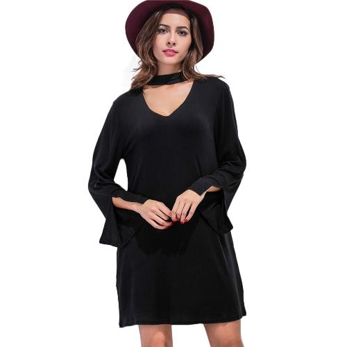Las nuevas mujeres del mini vestido de cuello en V mangas de murciélago Gargantilla de hendidura Manguito suelta una línea de vestido de Negro / Gris