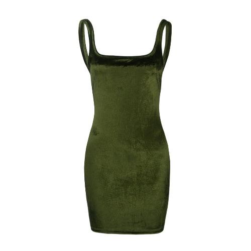 Nowe Seksowne kobiety Velvet Slip Dress Backless Jednolity kolor rękawów BODYCON Ogrzej Mini suknia Clubwear Burgundy / różowy / zielony