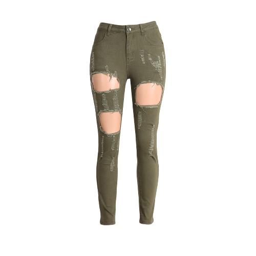 Las mujeres lavan pantalones jeans rasgado agujero bolsillos con cremallera de cintura alta elástico flaco Pantalones Lápiz verde del ejército