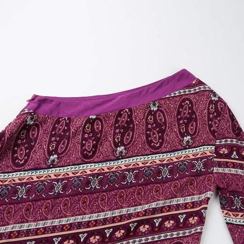 Women One Shoulder Dress Asymmetrical Hem Print Half Sleeves Side Zipper Boho Swing Dress Purple, TOMTOP  - buy with discount
