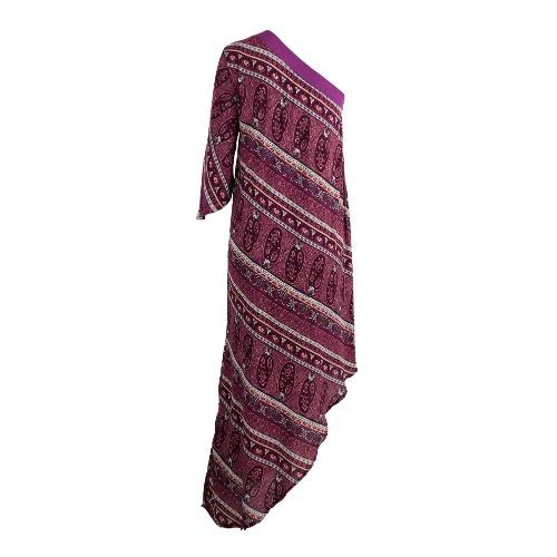Las mujeres de un hombro asimétrico vestido Hem Imprimir medias mangas de la cremallera del lado de Boho oscilación vestido púrpura