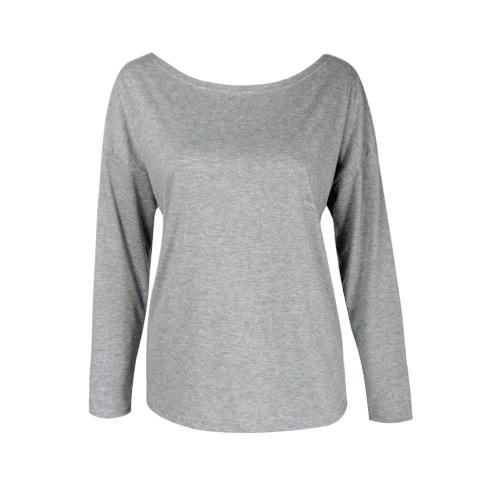 T-shirt das mulheres de Moda de Nova Sólidos Cruz cor de volta oco Out Rodada Long Neck luva frouxo Tops