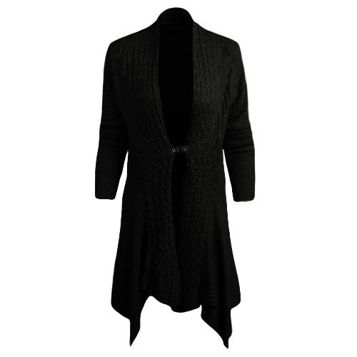 Las nuevas mujeres de la rebeca de punto sólido botón Abrir Frente PU dobladillo irregular de manga larga de la capa de abrigo informal
