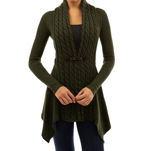 New Women Knitted Cardigan Solid Button Hem Long Sleeves Casual Outerwear Coat