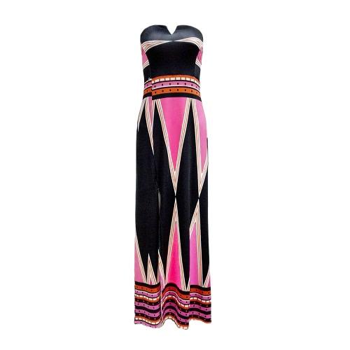 Nuevo atractivo de las mujeres sin tirantes del vestido maxi de la impresión floral del bloque del color sin respaldo de Split vestido delgado vestido de Long Beach