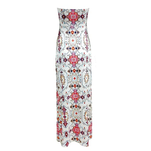 Sexy Women Strapless Maxi Dress Floral Print Color Block Backless Split Slim Dress Beach Long Dress, TOMTOP  - buy with discount