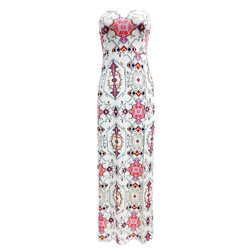 Neue reizvolle Frauen trägerloses Maxikleid mit Blumenmuster Farbe Block Backless Split dünnes Kleid Strand-langes Kleid