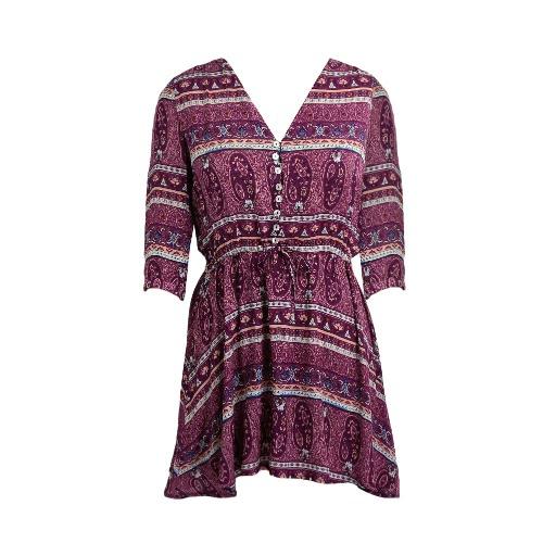 Frauen-Sommer-Kleid-Weinlese Boho Blumendruck 3/4 Sleeves Strand Bohemian Sundress Lila / Gelb