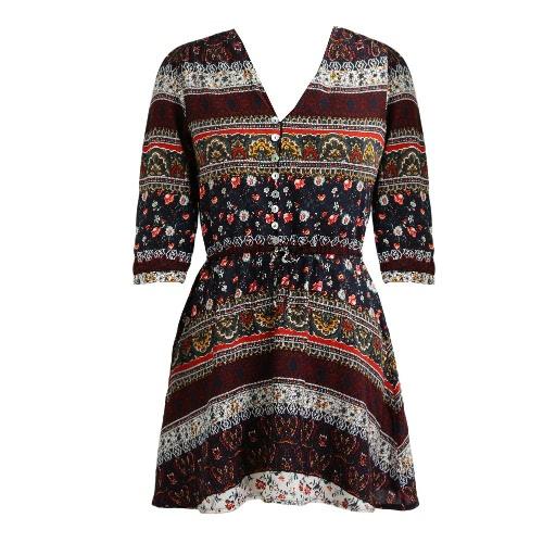 Vestido de las mujeres del verano de Boho de la vendimia de la impresión floral de 3/4 de las mangas de la playa de Bohemia Vestido de tirantes púrpura / amarillo