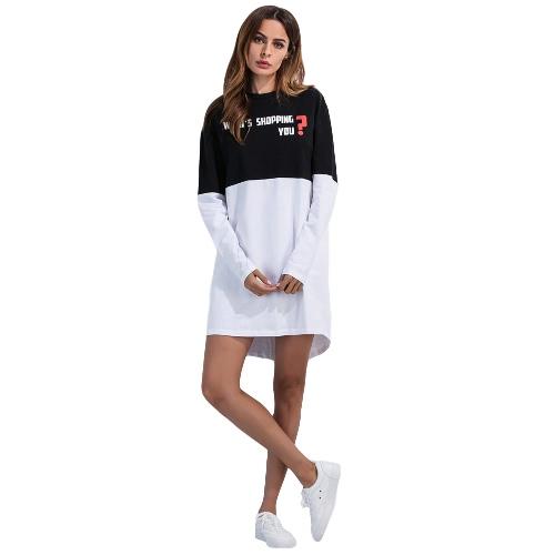 Las nuevas mujeres mini vestido de impresión de letras Negro Blanco Empalme O-cuello de manga larga floja ocasional del vestido blanco