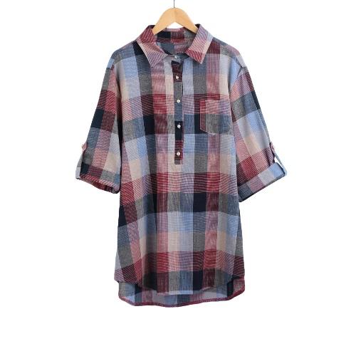 Frauen plus Größen-Hemd Plaid High-Low Rand-Knopf-Taschen-Turn-Down-Kragen beiläufige Bluse Top Schwarz / Rot / Blau