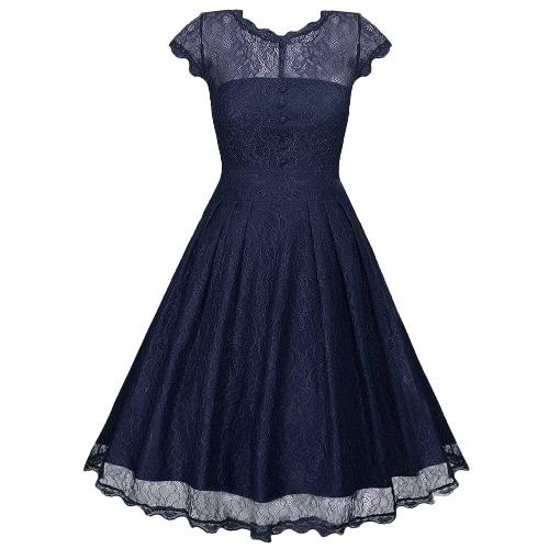 New Mulheres Lace vestido floral Cascading Lace V retroceder botões plissadas manga curta Vintage Slim Fit Vestido
