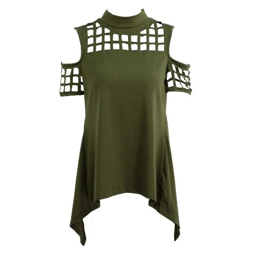Neue Frauen Kalte Schulter T-Shirt Schildkröte-Ansatz-Ineinander greifen aushöhlen Slit Zurück asymmetrischem Saum Losse zufällige Spitze