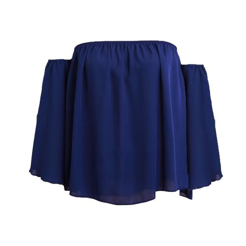 Las mujeres blusa de gasa de la raya vertical Cuello sólido Hombro Slare manga atractiva floja Tops Negro / blanco / azul royal