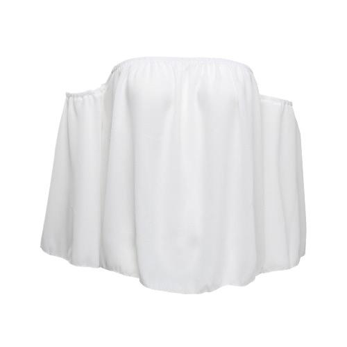 Blusa Chiffon mulheres Sólidos de Slash Neck Alças Slare luva frouxo Sexy Tops preto / branco / Royalblue