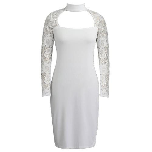 Nowej kobiet koronki BODYCON Sukienka Długie rękawy wysokim kołnierzem Elegancki Club Party Slim płaszcza Dress Black / White