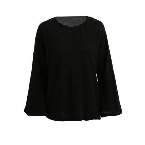 New Fashion Women Sweater O-Neck alargamento da luva sólidos a granel malhas malha pulôver Tops vermelho / cinza / preto