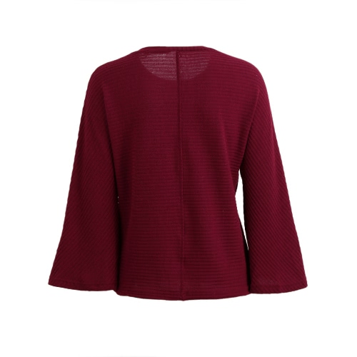 Новая мода женщины свитер O-Шея Flare рукавом Твердые Сыпучие Трикотаж Трикотажные топы пуловер красный / серый / черный фото