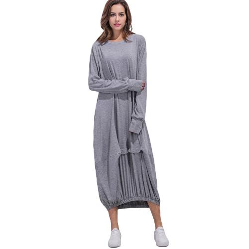Tamaño de las mujeres ocasional más el vestido maxi sólido del O-Cuello de la manga completa con volantes elástico Hem vestido largo flojo Pullover