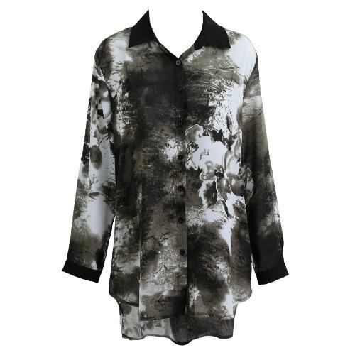 Nuevo de las mujeres más el tamaño de la blusa de la gasa de la tinta de impresión Turdoen de cuello asimétrico dobladillo Botones ocasionales flojas Top Negro