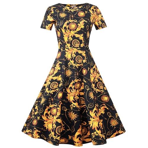 Nuevas mujeres de la vendimia del oscilación 1950 del vestido del estilo Hepburn retro manga corta vestido plisado negro Señora elegante Rockabilly