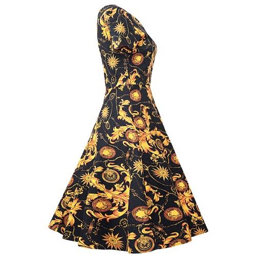 New Vintage Women Swing Dress Short Sleeve Retro Hepburn Style 1950s Rockabilly Elegant Lady Pleated Dress Black