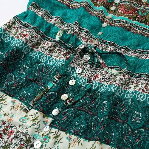 Fashion Women Bohemia Dress Print V Neck Half Sleeves Button Split Long Dress Brown/Green, TOMTOP  - buy with discount