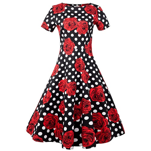 Kobiety Vintage Floral Print Dress groszki okrągły dekolt partii 50 za Swing Rockabilly Dress Purpurowy